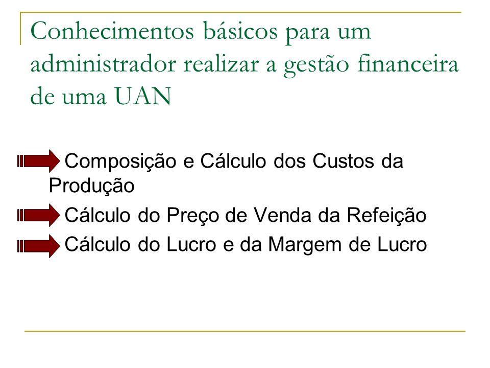 Conhecimentos básicos para um administrador realizar a gestão financeira de uma UAN Composição e Cálculo dos Custos da Produção Cálculo do Preço de Ve