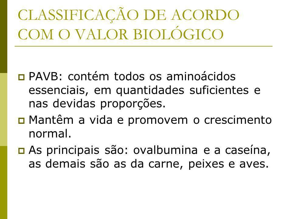 CLASSIFICAÇÃO DE ACORDO COM O VALOR BIOLÓGICO PAVB: contém todos os aminoácidos essenciais, em quantidades suficientes e nas devidas proporções.