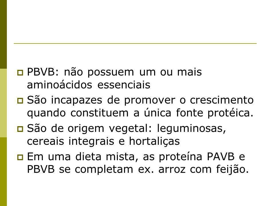PBVB: não possuem um ou mais aminoácidos essenciais São incapazes de promover o crescimento quando constituem a única fonte protéica. São de origem ve
