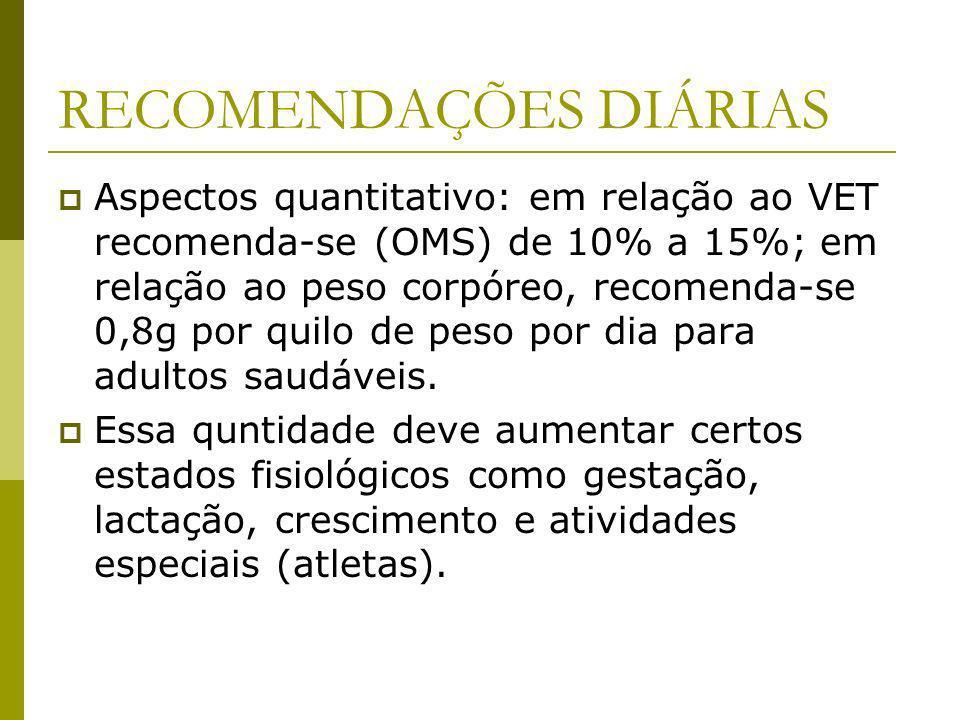 RECOMENDAÇÕES DIÁRIAS Aspectos quantitativo: em relação ao VET recomenda-se (OMS) de 10% a 15%; em relação ao peso corpóreo, recomenda-se 0,8g por qui