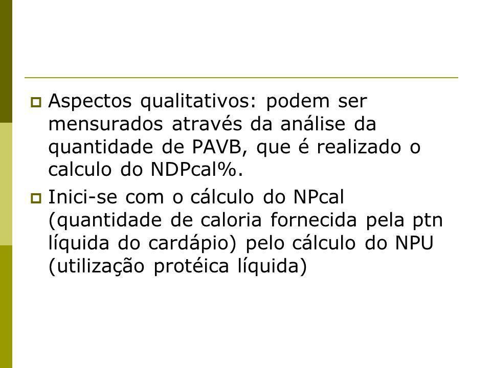 Aspectos qualitativos: podem ser mensurados através da análise da quantidade de PAVB, que é realizado o calculo do NDPcal%. Inici-se com o cálculo do