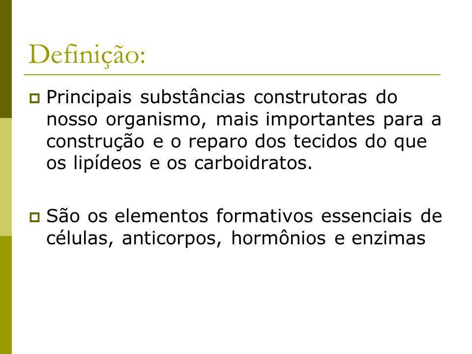 Definição: Principais substâncias construtoras do nosso organismo, mais importantes para a construção e o reparo dos tecidos do que os lipídeos e os c