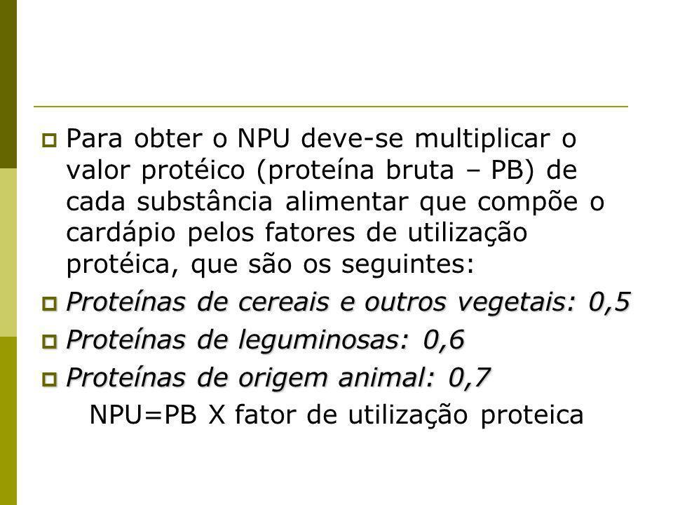 Para obter o NPU deve-se multiplicar o valor protéico (proteína bruta – PB) de cada substância alimentar que compõe o cardápio pelos fatores de utilização protéica, que são os seguintes: Proteínas de cereais e outros vegetais: 0,5 Proteínas de cereais e outros vegetais: 0,5 Proteínas de leguminosas: 0,6 Proteínas de leguminosas: 0,6 Proteínas de origem animal: 0,7 Proteínas de origem animal: 0,7 NPU=PB X fator de utilização proteica
