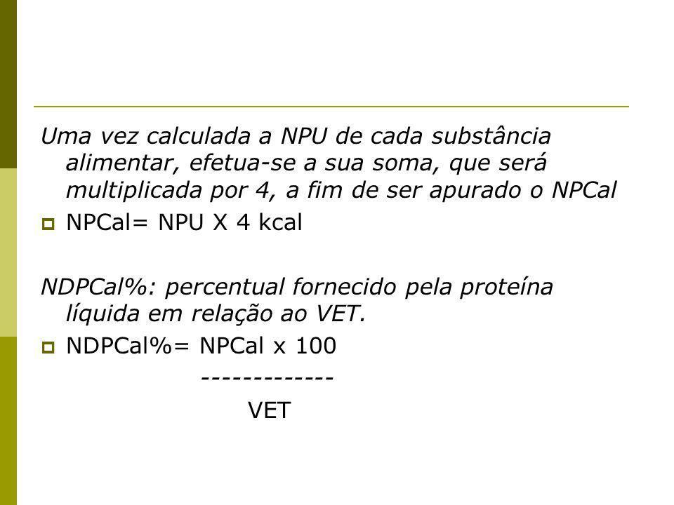 Uma vez calculada a NPU de cada substância alimentar, efetua-se a sua soma, que será multiplicada por 4, a fim de ser apurado o NPCal NPCal= NPU X 4 kcal NDPCal%: percentual fornecido pela proteína líquida em relação ao VET.