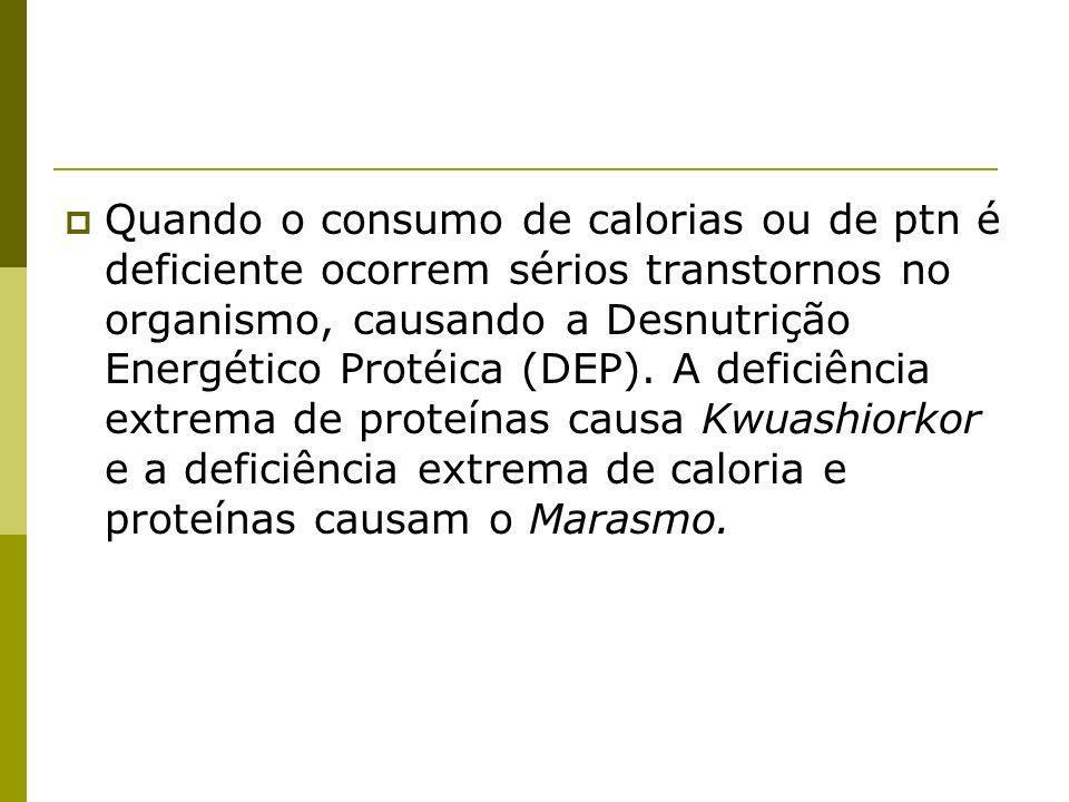 Quando o consumo de calorias ou de ptn é deficiente ocorrem sérios transtornos no organismo, causando a Desnutrição Energético Protéica (DEP). A defic