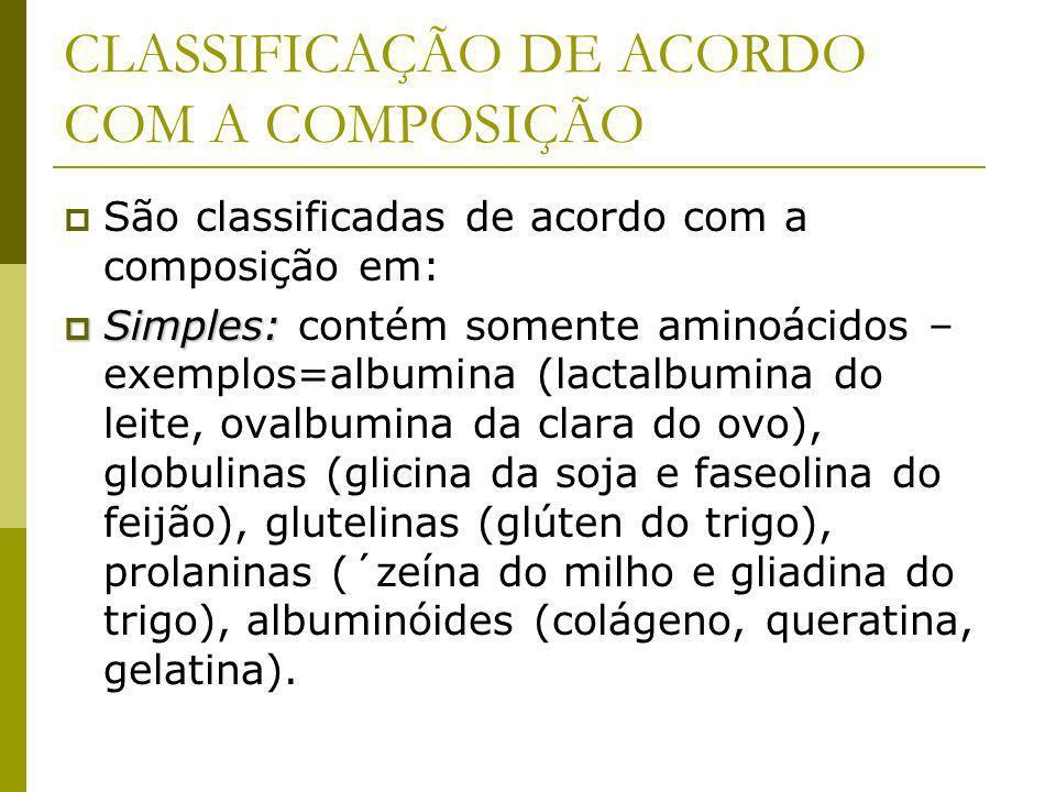 CLASSIFICAÇÃO DE ACORDO COM A COMPOSIÇÃO São classificadas de acordo com a composição em: Simples: Simples: contém somente aminoácidos – exemplos=albumina (lactalbumina do leite, ovalbumina da clara do ovo), globulinas (glicina da soja e faseolina do feijão), glutelinas (glúten do trigo), prolaninas (´zeína do milho e gliadina do trigo), albuminóides (colágeno, queratina, gelatina).