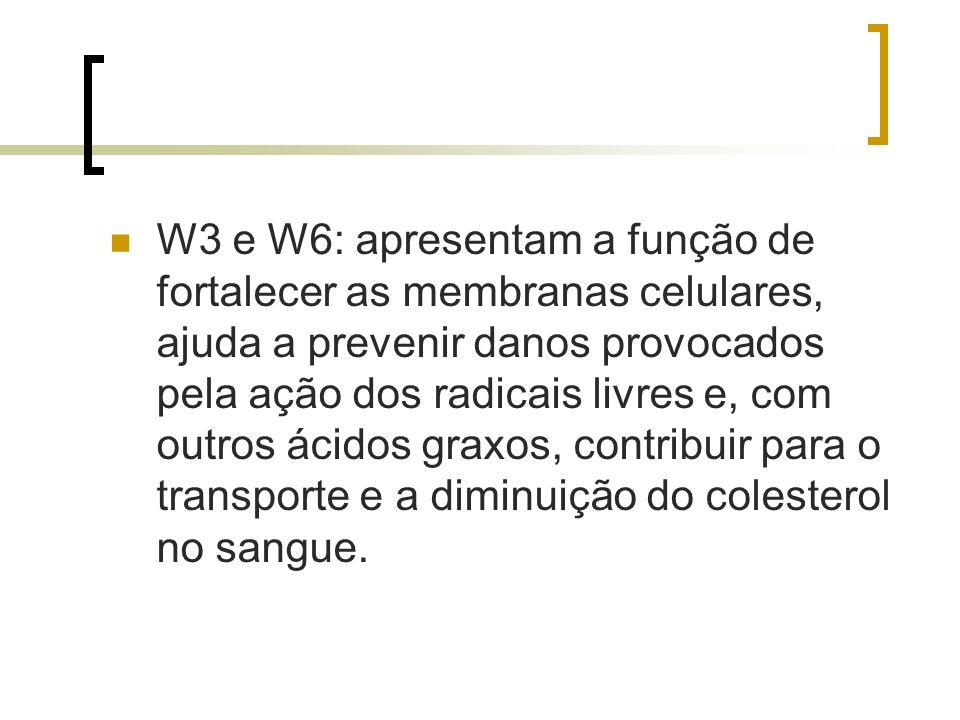 W3 e W6: apresentam a função de fortalecer as membranas celulares, ajuda a prevenir danos provocados pela ação dos radicais livres e, com outros ácido