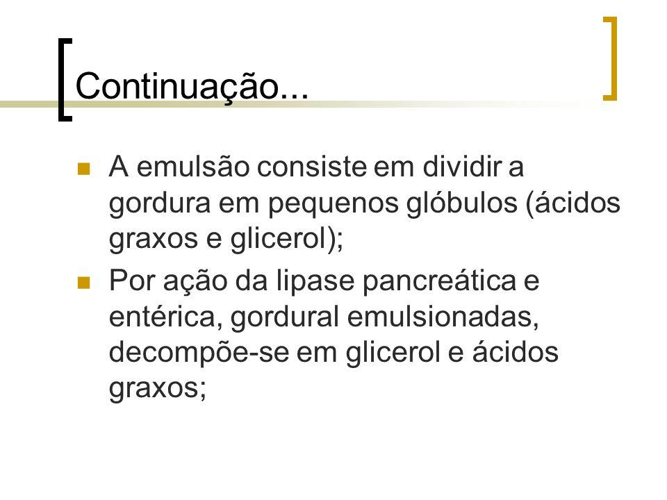 Continuação... A emulsão consiste em dividir a gordura em pequenos glóbulos (ácidos graxos e glicerol); Por ação da lipase pancreática e entérica, gor