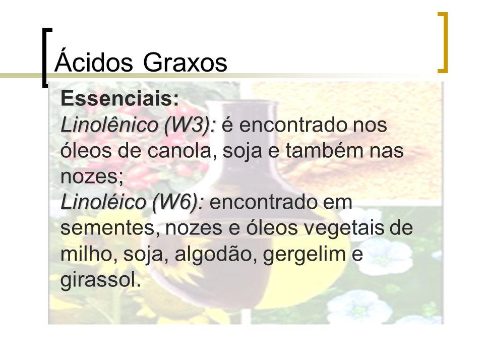 Ácidos Graxos Essenciais: Linolênico (W3): Linolênico (W3): é encontrado nos óleos de canola, soja e também nas nozes; Linoléico (W6): Linoléico (W6):