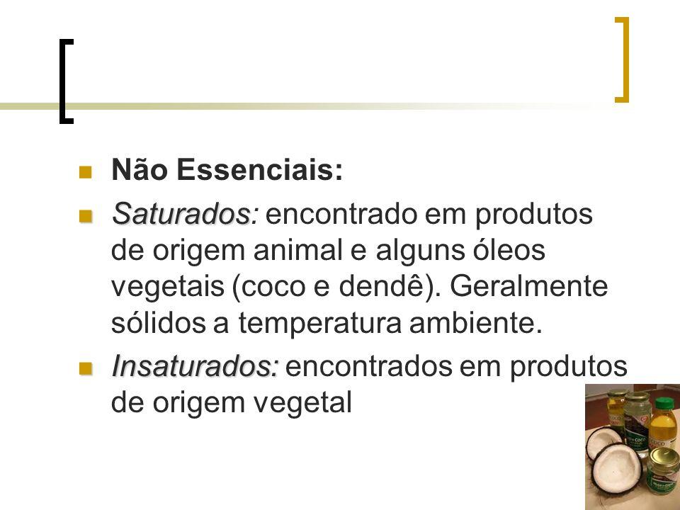 Não Essenciais: Saturados Saturados: encontrado em produtos de origem animal e alguns óleos vegetais (coco e dendê). Geralmente sólidos a temperatura