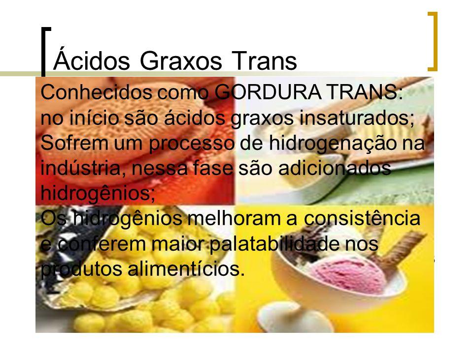 Ácidos Graxos Trans Conhecidos como GORDURA TRANS: no início são ácidos graxos insaturados; Sofrem um processo de hidrogenação na indústria, nessa fas