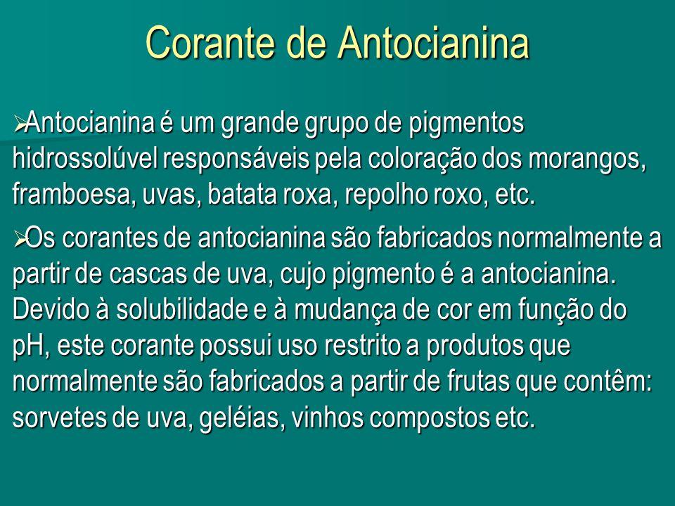 Corante de Antocianina Antocianina é um grande grupo de pigmentos hidrossolúvel responsáveis pela coloração dos morangos, framboesa, uvas, batata roxa