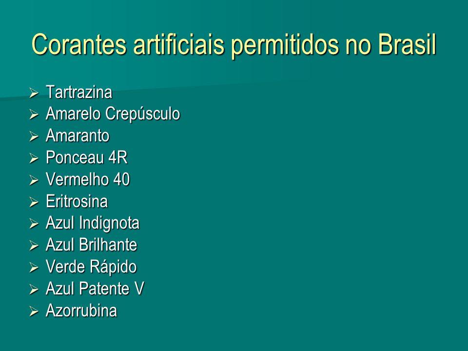 Corantes artificiais permitidos no Brasil Tartrazina Tartrazina Amarelo Crepúsculo Amarelo Crepúsculo Amaranto Amaranto Ponceau 4R Ponceau 4R Vermelho