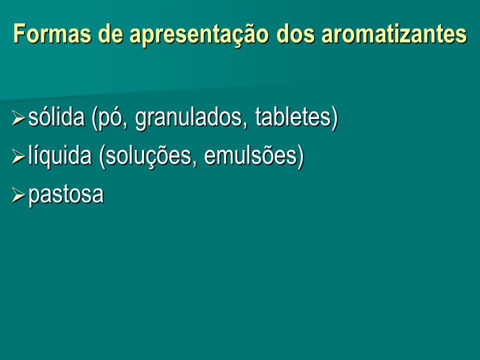 Formas de apresentação dos aromatizantes sólida (pó, granulados, tabletes) sólida (pó, granulados, tabletes) líquida (soluções, emulsões) líquida (sol