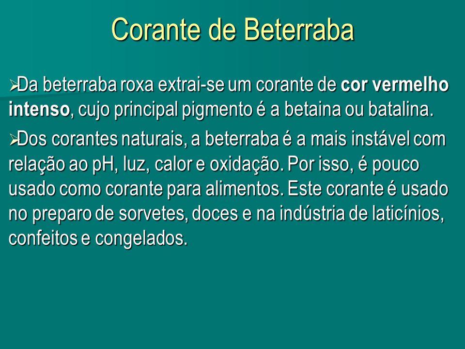 Corante de Beterraba Da beterraba roxa extrai-se um corante de cor vermelho intenso, cujo principal pigmento é a betaina ou batalina. Da beterraba rox
