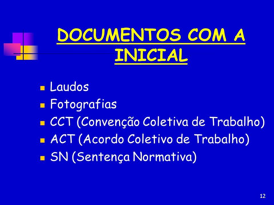 12 DOCUMENTOS COM A INICIAL Laudos Fotografias CCT (Convenção Coletiva de Trabalho) ACT (Acordo Coletivo de Trabalho) SN (Sentença Normativa)