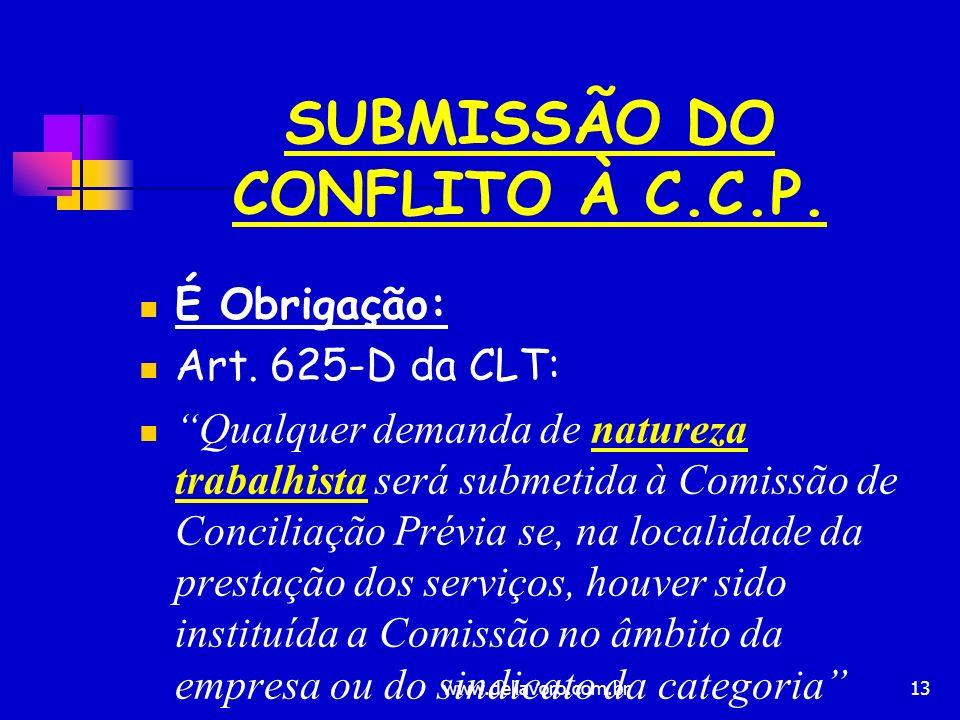 13 SUBMISSÃO DO CONFLITO À C.C.P. É Obrigação: Art. 625-D da CLT: Qualquer demanda de natureza trabalhista será submetida à Comissão de Conciliação Pr