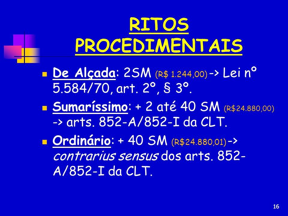 16 RITOS PROCEDIMENTAIS De Alçada: 2SM (R$ 1.244,00) -> Lei nº 5.584/70, art. 2º, § 3º. Sumaríssimo: + 2 até 40 SM (R$24.880,00) -> arts. 852-A/852-I