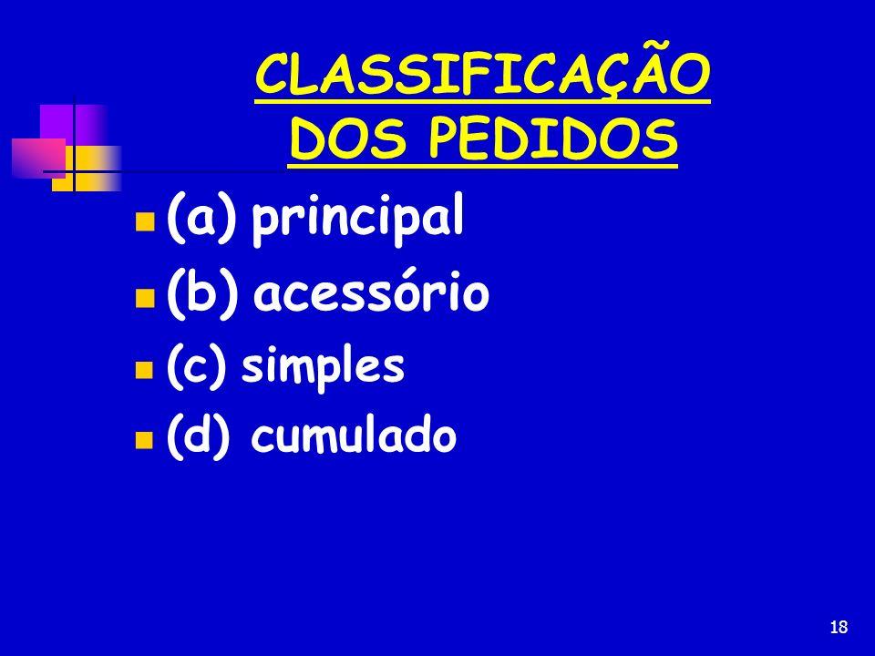 18 CLASSIFICAÇÃO DOS PEDIDOS (a) principal (b) acessório (c) simples (d) cumulado