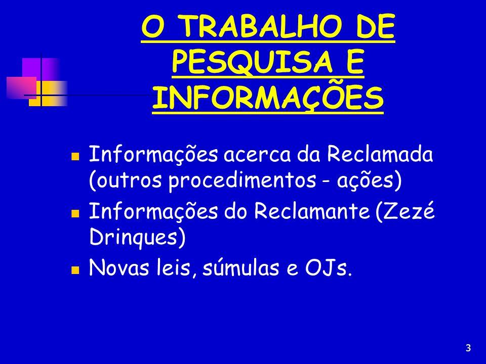 3 O TRABALHO DE PESQUISA E INFORMAÇÕES Informações acerca da Reclamada (outros procedimentos - ações) Informações do Reclamante (Zezé Drinques) Novas