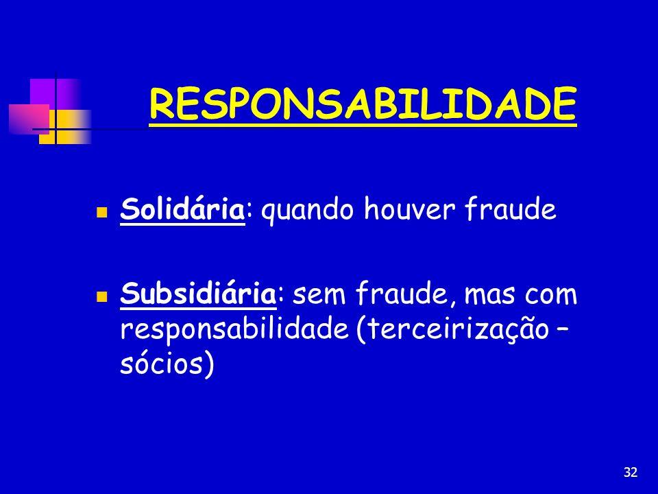 32 RESPONSABILIDADE Solidária: quando houver fraude Subsidiária: sem fraude, mas com responsabilidade (terceirização – sócios)