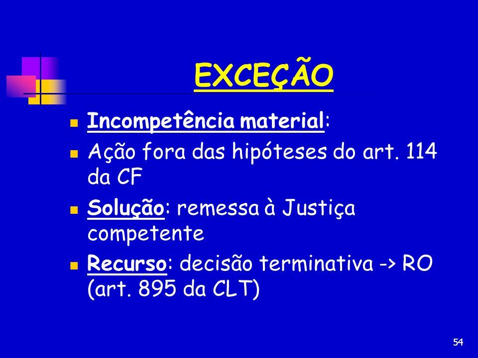 54 EXCEÇÃO Incompetência material: Ação fora das hipóteses do art. 114 da CF Solução: remessa à Justiça competente Recurso: decisão terminativa -> RO