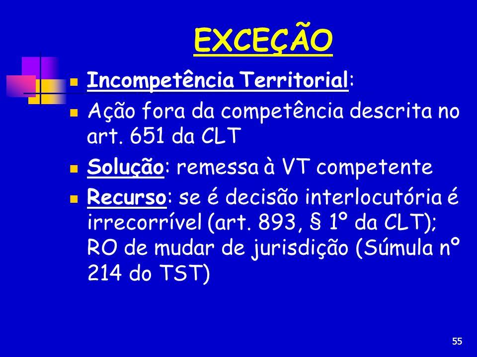55 EXCEÇÃO Incompetência Territorial: Ação fora da competência descrita no art. 651 da CLT Solução: remessa à VT competente Recurso: se é decisão inte