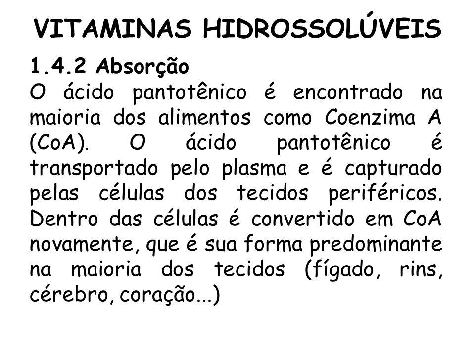 VITAMINAS HIDROSSOLÚVEIS 1.4.2 Absorção O ácido pantotênico é encontrado na maioria dos alimentos como Coenzima A (CoA). O ácido pantotênico é transpo