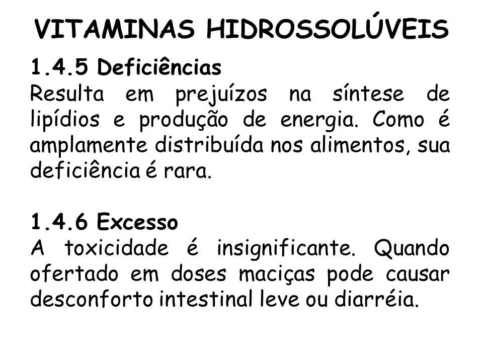 VITAMINAS HIDROSSOLÚVEIS 1.4.5 Deficiências Resulta em prejuízos na síntese de lipídios e produção de energia. Como é amplamente distribuída nos alime