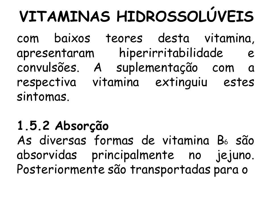 VITAMINAS HIDROSSOLÚVEIS com baixos teores desta vitamina, apresentaram hiperirritabilidade e convulsões. A suplementação com a respectiva vitamina ex