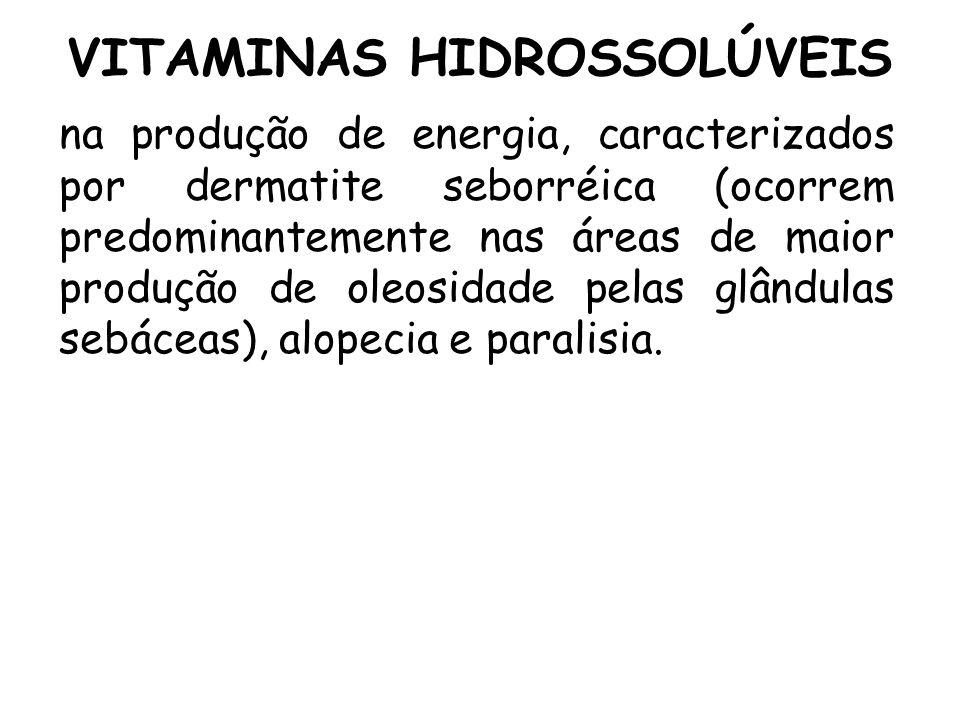 VITAMINAS HIDROSSOLÚVEIS na produção de energia, caracterizados por dermatite seborréica (ocorrem predominantemente nas áreas de maior produção de ole