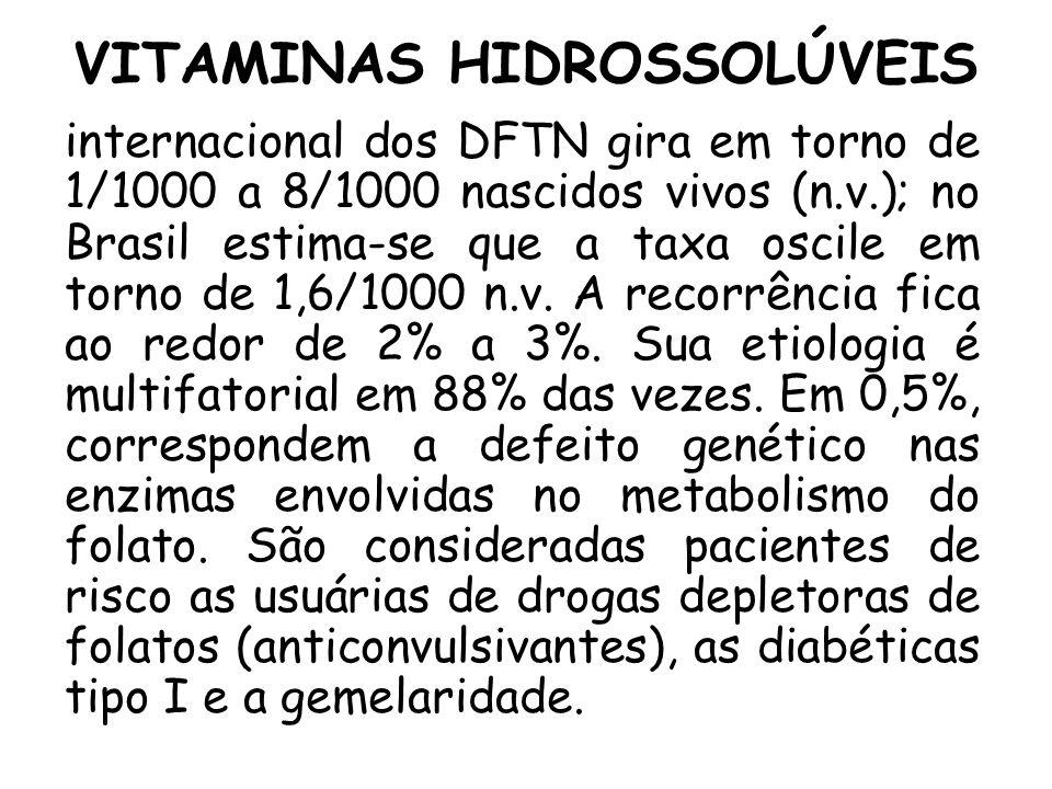 VITAMINAS HIDROSSOLÚVEIS internacional dos DFTN gira em torno de 1/1000 a 8/1000 nascidos vivos (n.v.); no Brasil estima-se que a taxa oscile em torno