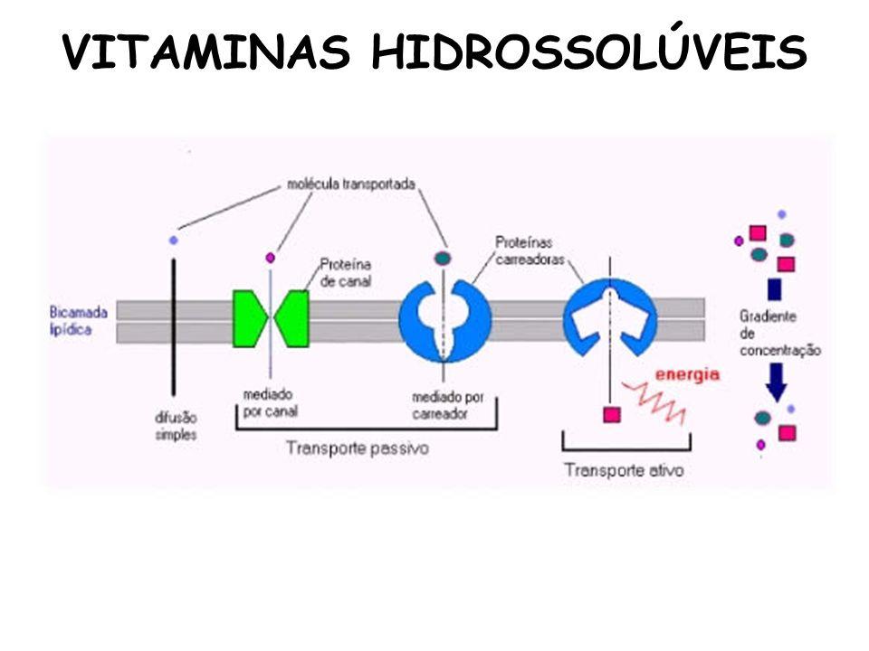 VITAMINAS HIDROSSOLÚVEIS 1.5.6 Excesso A toxicidade é relativamente baixa, porém, altas doses podem levar a sintomas semelhantes aos da deficiência.