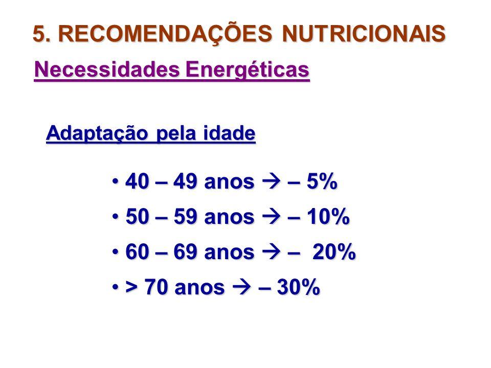 5. RECOMENDAÇÕES NUTRICIONAIS Necessidades Energéticas Atividade FemininoMasculino Repouso2832 Leve3642 Mod. Ativo 4046 Ativo4754 Muito Ativo 5562 VET