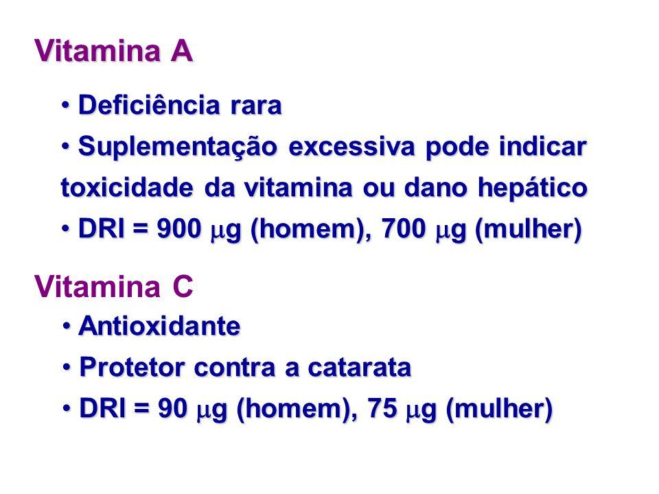 Necessidades de Vitaminas Vitamina D Sua deficiência pode proporcionar perda da massa óssea e risco de osteoporose Sua deficiência pode proporcionar p
