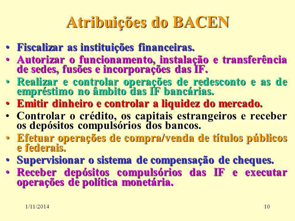 1/11/201410 Atribuições do BACEN Fiscalizar as instituições financeiras.Fiscalizar as instituições financeiras. Autorizar o funcionamento, instalação