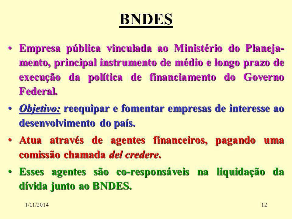 1/11/201412 BNDES Empresa pública vinculada ao Ministério do Planeja- mento, principal instrumento de médio e longo prazo de execução da política de f