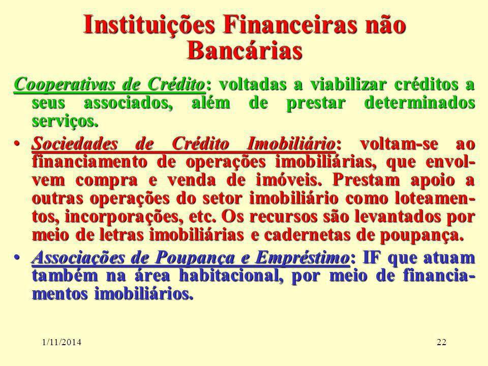 1/11/201422 Instituições Financeiras não Bancárias Cooperativas de Crédito: voltadas a viabilizar créditos a seus associados, além de prestar determin