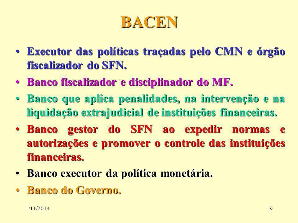 1/11/20149 BACEN Executor das políticas traçadas pelo CMN e órgão fiscalizador do SFN.Executor das políticas traçadas pelo CMN e órgão fiscalizador do