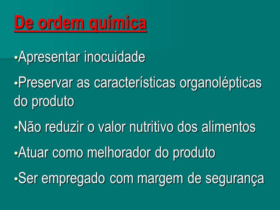 De ordem química Apresentar inocuidade Apresentar inocuidade Preservar as características organolépticas do produto Preservar as características organ
