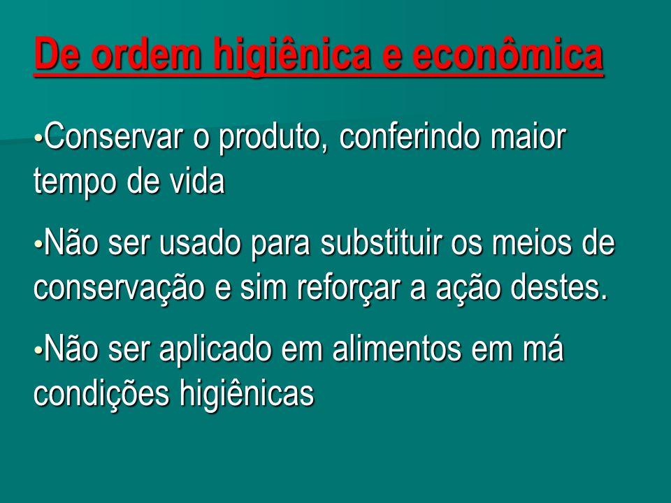 De ordem higiênica e econômica Conservar o produto, conferindo maior tempo de vida Conservar o produto, conferindo maior tempo de vida Não ser usado p