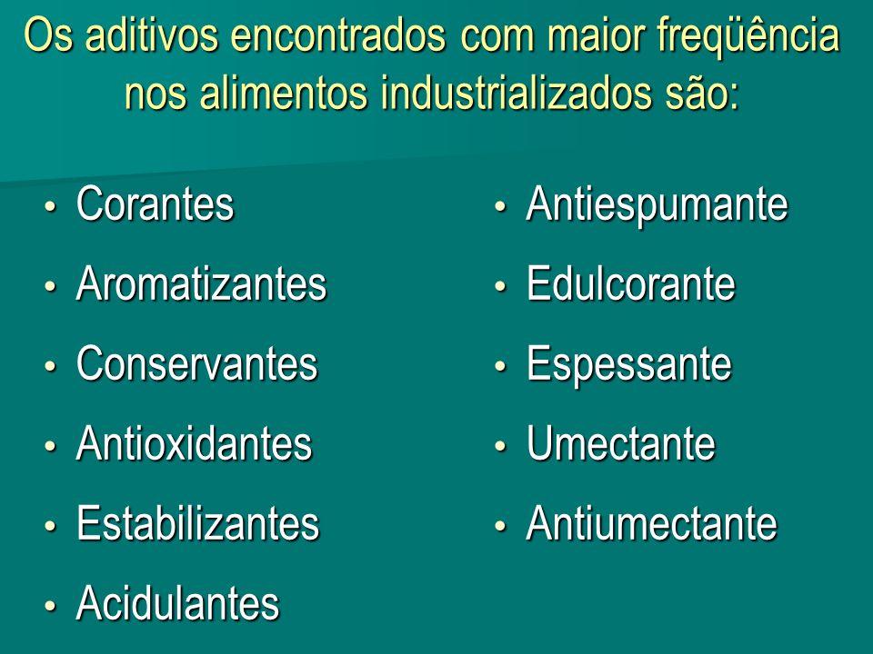 Os aditivos encontrados com maior freqüência nos alimentos industrializados são: Corantes Corantes Aromatizantes Aromatizantes Conservantes Conservant