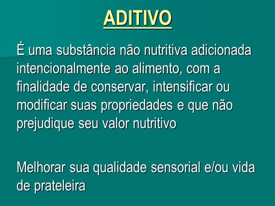 ADITIVO É uma substância não nutritiva adicionada intencionalmente ao alimento, com a finalidade de conservar, intensificar ou modificar suas propried