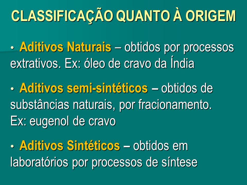 CLASSIFICAÇÃO QUANTO À ORIGEM Aditivos Naturais – obtidos por processos extrativos. Ex: óleo de cravo da Índia Aditivos Naturais – obtidos por process