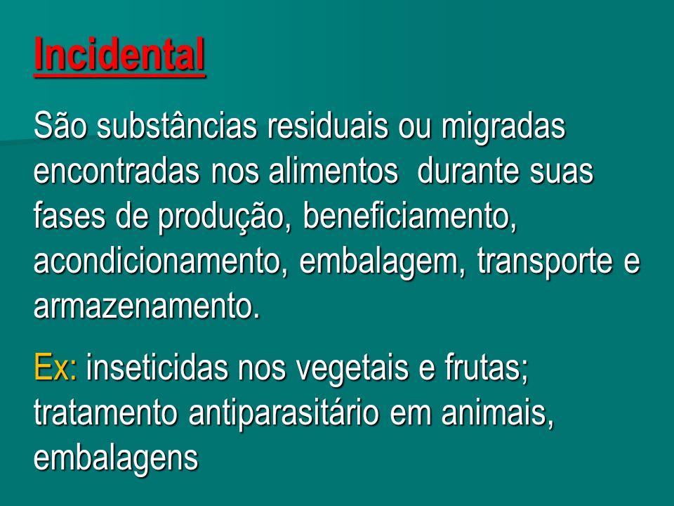 Incidental São substâncias residuais ou migradas encontradas nos alimentos durante suas fases de produção, beneficiamento, acondicionamento, embalagem