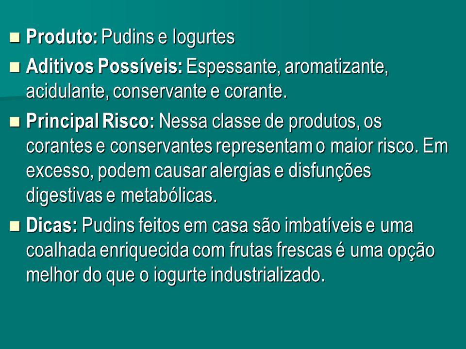Produto: Pudins e Iogurtes Produto: Pudins e Iogurtes Aditivos Possíveis: Espessante, aromatizante, acidulante, conservante e corante.
