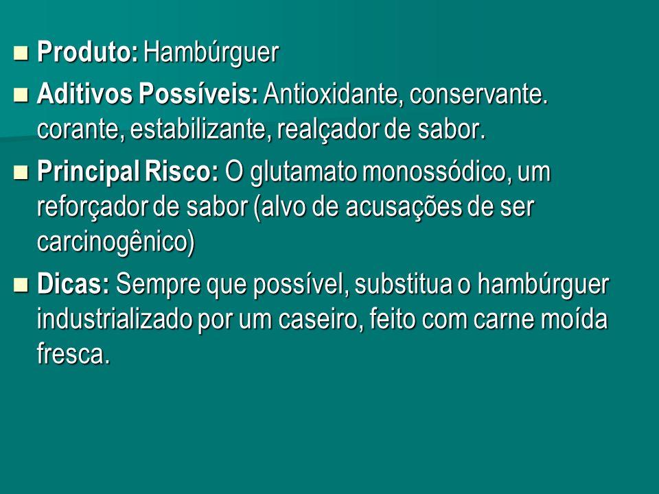 Produto: Hambúrguer Produto: Hambúrguer Aditivos Possíveis: Antioxidante, conservante.