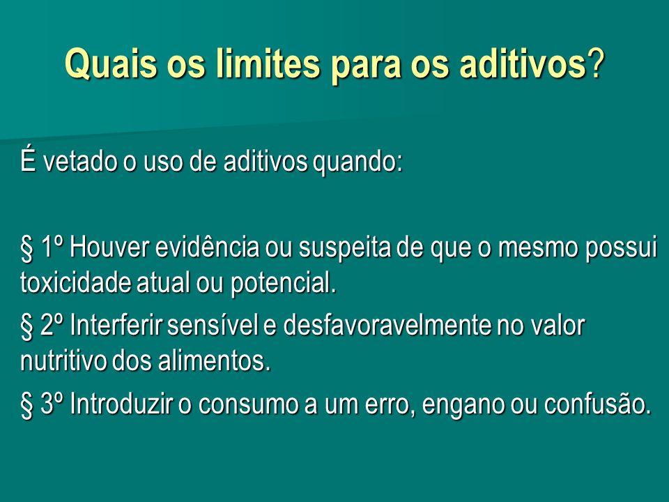 Quais os limites para os aditivos .