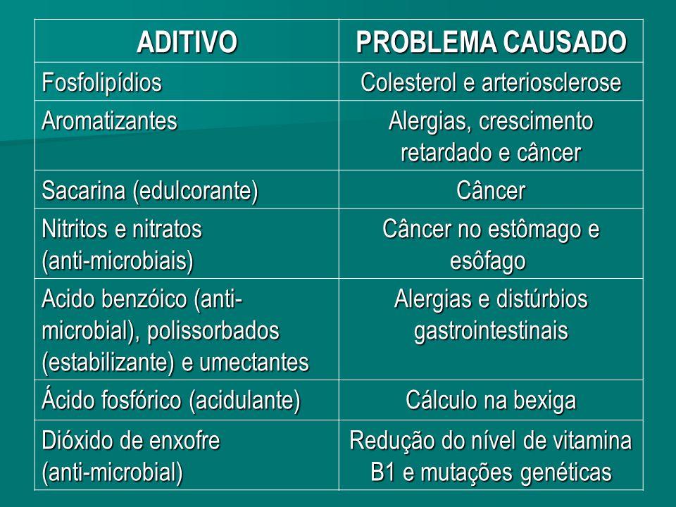 ADITIVO PROBLEMA CAUSADO Fosfolipídios Colesterol e arteriosclerose Aromatizantes Alergias, crescimento retardado e câncer Sacarina (edulcorante) Câncer Nitritos e nitratos (anti-microbiais) Câncer no estômago e esôfago Câncer no estômago e esôfago Acido benzóico (anti- microbial), polissorbados (estabilizante) e umectantes Alergias e distúrbios gastrointestinais Ácido fosfórico (acidulante) Cálculo na bexiga Dióxido de enxofre (anti-microbial) Redução do nível de vitamina B1 e mutações genéticas