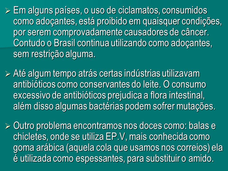 Em alguns países, o uso de ciclamatos, consumidos como adoçantes, está proibido em quaisquer condições, por serem comprovadamente causadores de câncer.